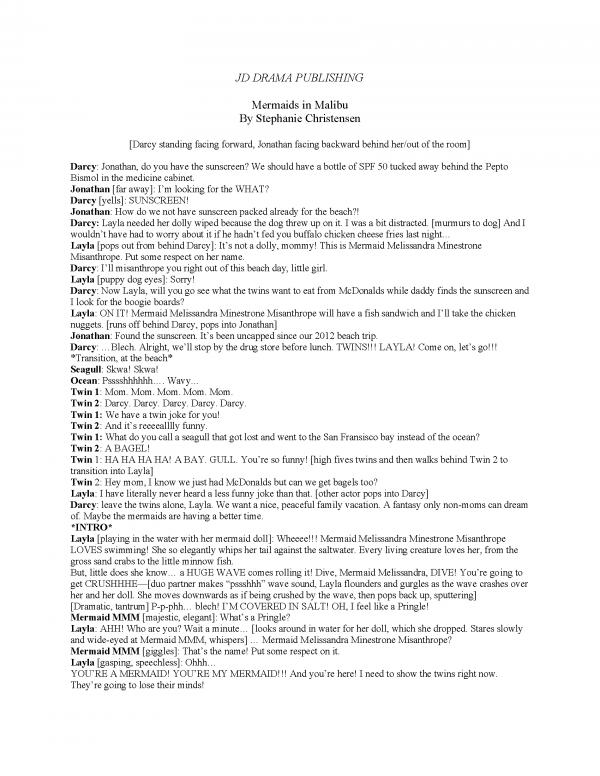 Mermaids in Malibu Script Preveiw